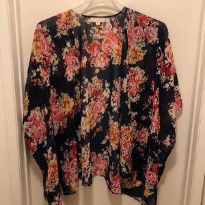 Navy floral print kimono M/L